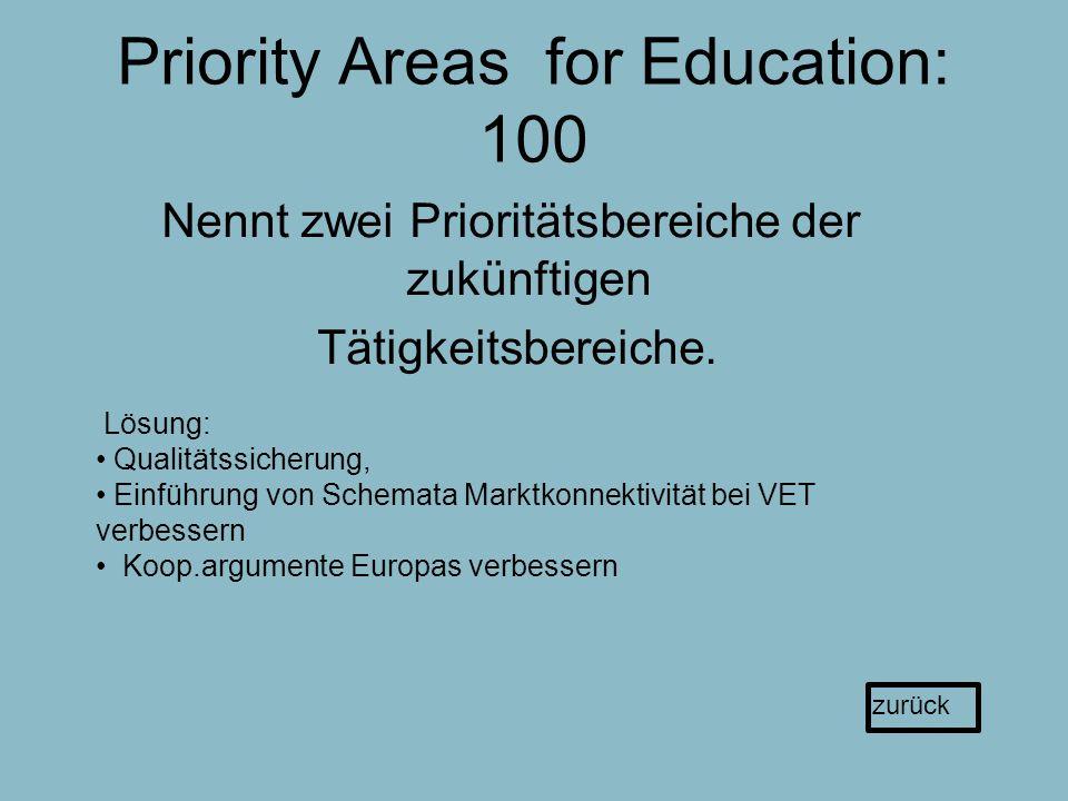 Priority Areas for Education: 100 Nennt zwei Prioritätsbereiche der zukünftigen Tätigkeitsbereiche.