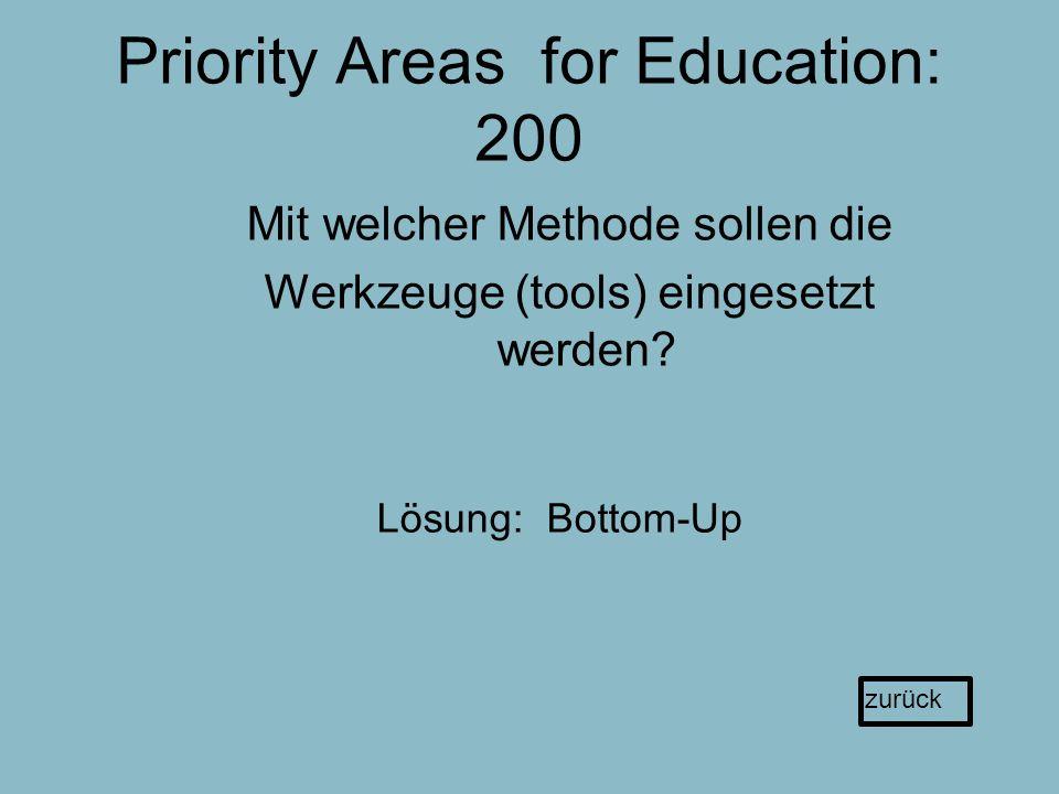 Priority Areas for Education: 200 Mit welcher Methode sollen die Werkzeuge (tools) eingesetzt werden.