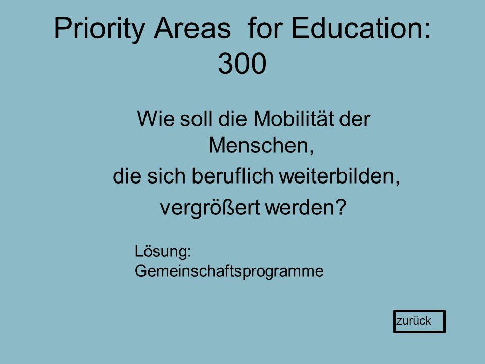 Priority Areas for Education: 300 Wie soll die Mobilität der Menschen, die sich beruflich weiterbilden, vergrößert werden.
