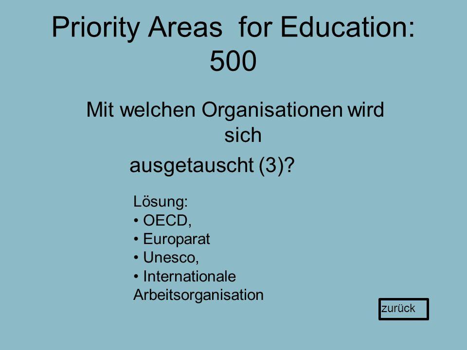Priority Areas for Education: 500 Mit welchen Organisationen wird sich ausgetauscht (3).