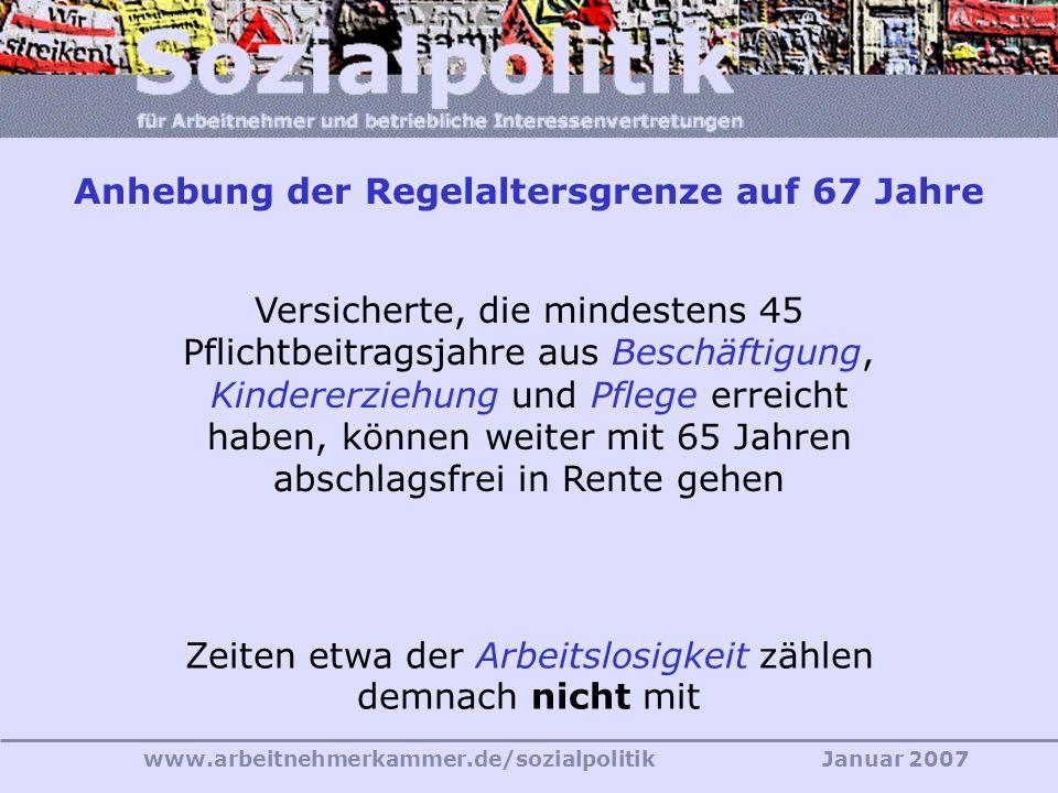 www.arbeitnehmerkammer.de/sozialpolitikJanuar 2007 Versicherte, die mindestens 45 Pflichtbeitragsjahre aus Beschäftigung, Kindererziehung und Pflege erreicht haben, können weiter mit 65 Jahren abschlagsfrei in Rente gehen Zeiten etwa der Arbeitslosigkeit zählen demnach nicht mit Anhebung der Regelaltersgrenze auf 67 Jahre