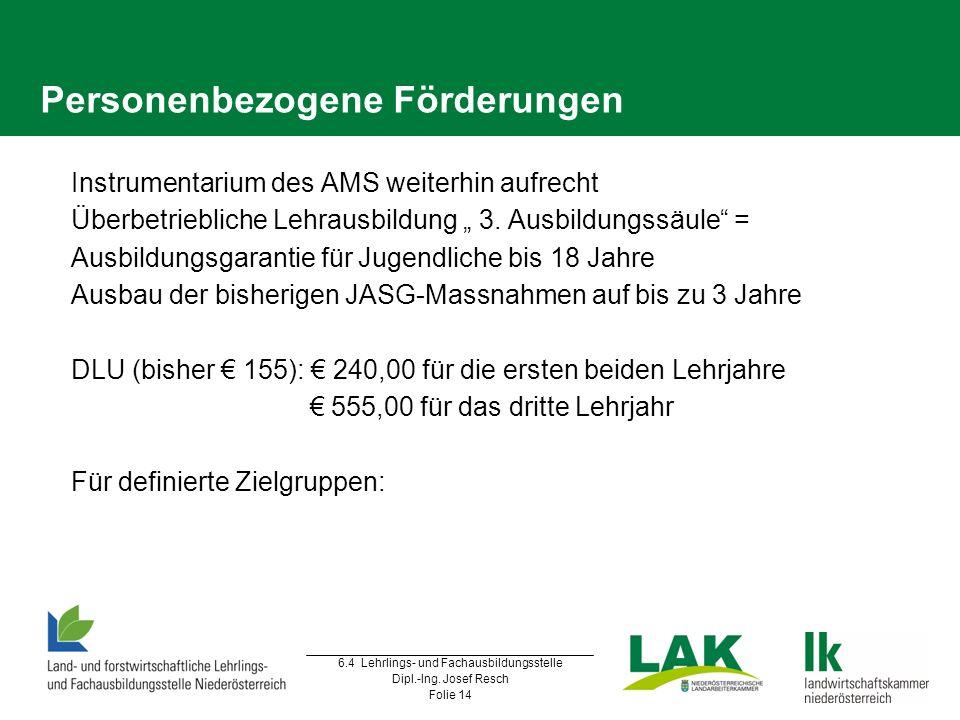 6.4 Lehrlings- und Fachausbildungsstelle Dipl.-Ing. Josef Resch Folie 14 Personenbezogene Förderungen  Instrumentarium des AMS weiterhin aufrecht  Ü