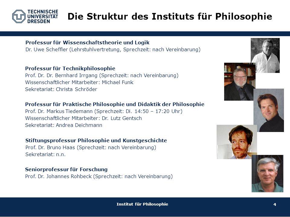 4 Institut für Philosophie Die Struktur des Instituts für Philosophie Professur für Technikphilosophie Prof.