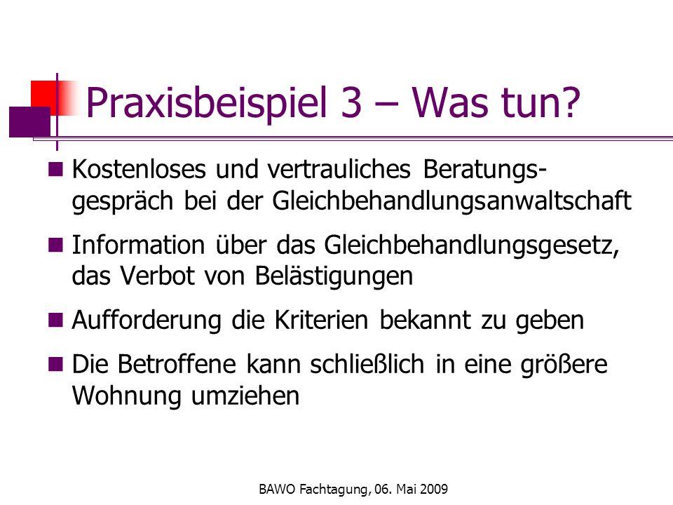 BAWO Fachtagung, 06. Mai 2009 Praxisbeispiel 3 – Was tun.