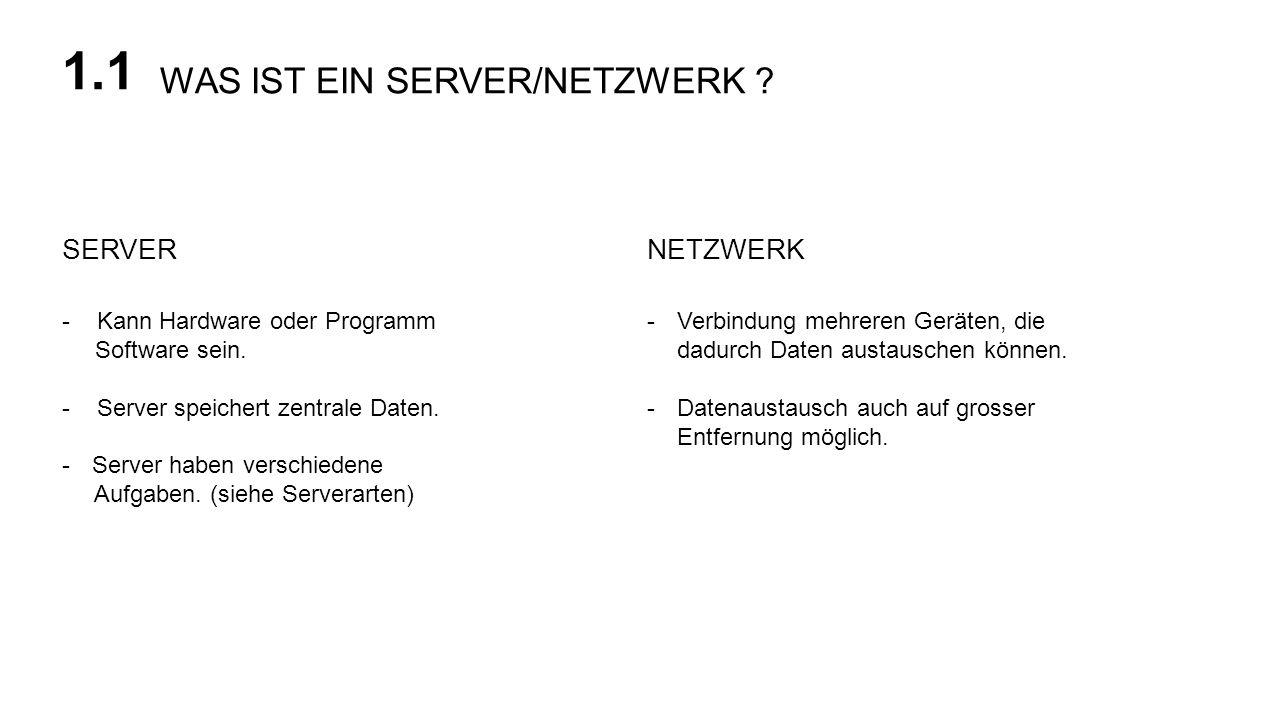 WAS IST EIN SERVER/NETZWERK ? 1.1 NETZWERKSERVER - Kann Hardware oder Programm Software sein. - Server speichert zentrale Daten. -Server haben verschi