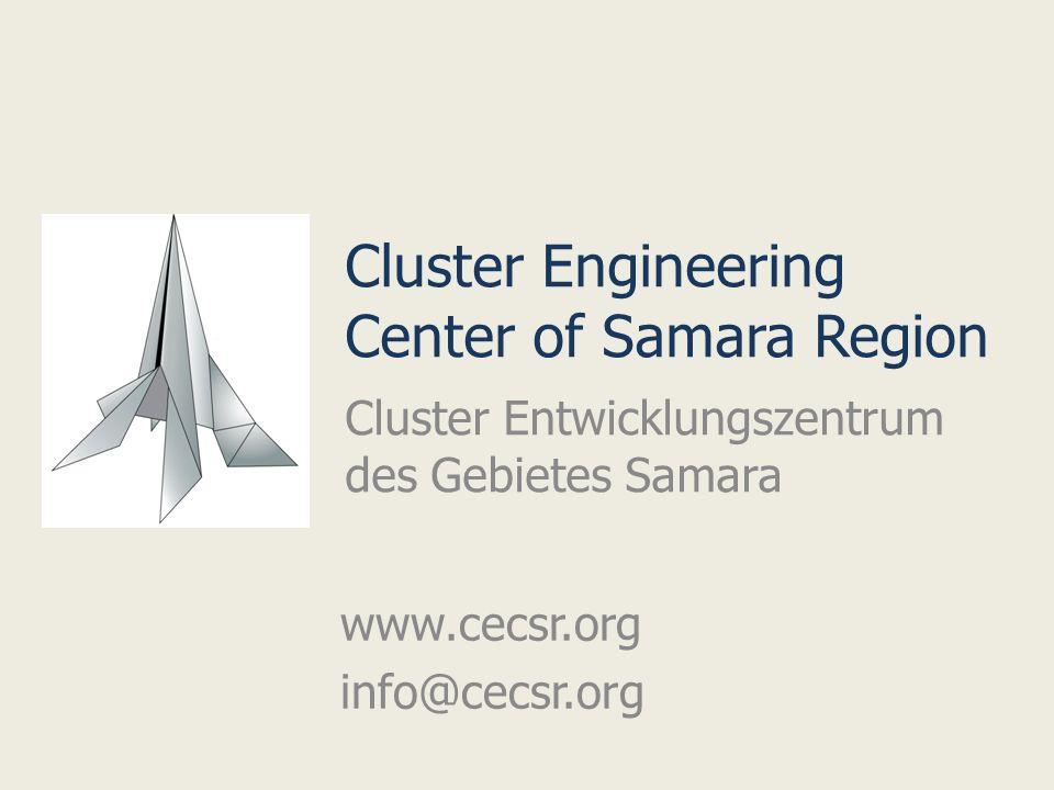 Cluster Engineering Center of Samara Region Cluster Entwicklungszentrum des Gebietes Samara www.cecsr.org info@cecsr.org