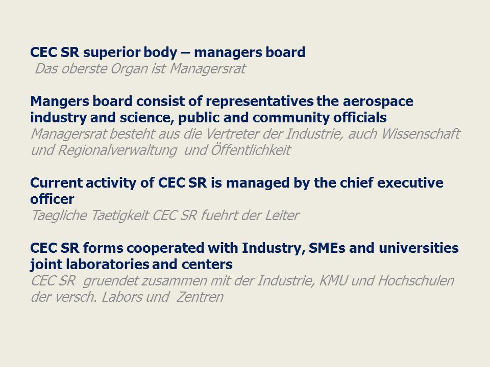 CEC SR membership in organizations Teilnahme an der Organisationen Innovative territorial aerospace cluster of Samara Region Eurasian Partnership of Aerospace Clusters Russia s Economy Board in Germany Eurasian Aerospace Congress