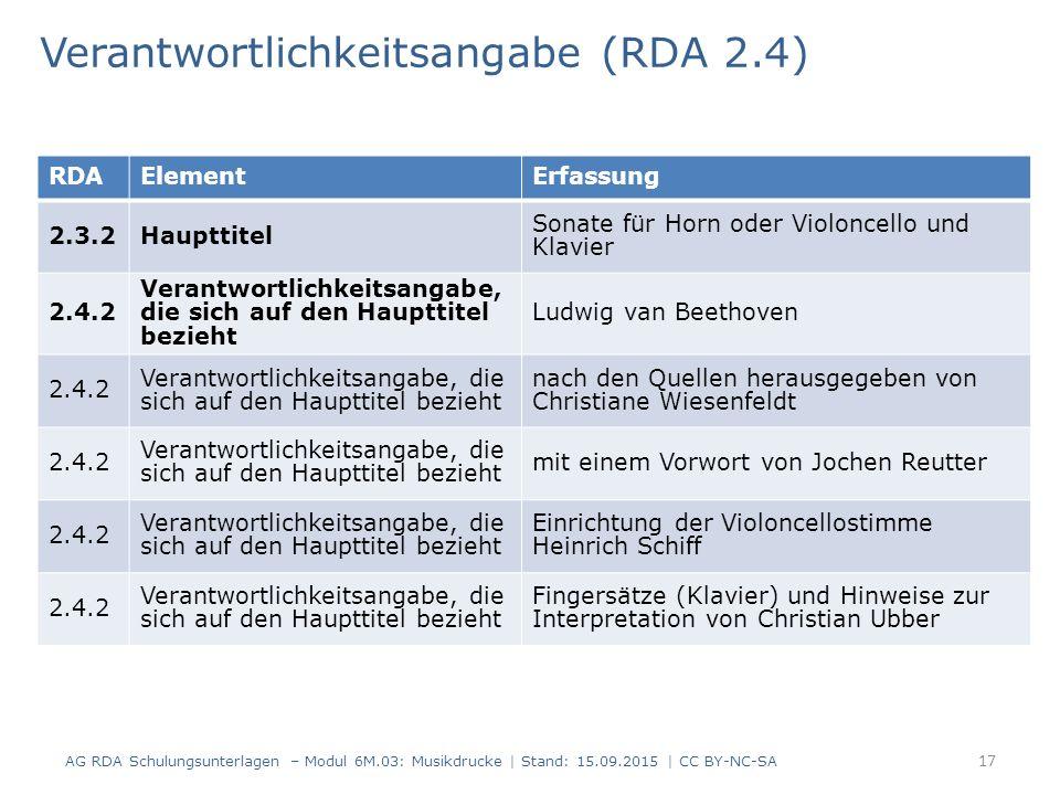 Verantwortlichkeitsangabe (RDA 2.4) AG RDA Schulungsunterlagen – Modul 6M.03: Musikdrucke | Stand: 15.09.2015 | CC BY-NC-SA 17 RDAElementErfassung 2.3