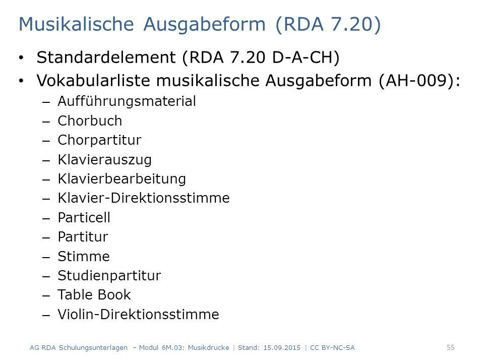 Musikalische Ausgabeform (RDA 7.20) Standardelement (RDA 7.20 D-A-CH) Vokabularliste musikalische Ausgabeform (AH-009): – Aufführungsmaterial – Chorbu