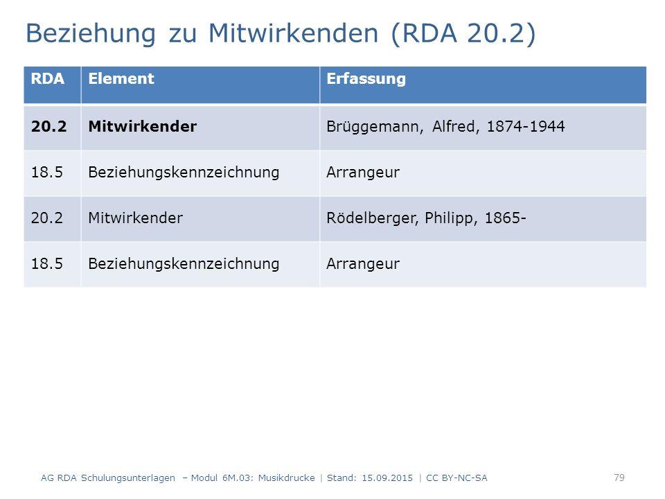 Beziehung zu Mitwirkenden (RDA 20.2) AG RDA Schulungsunterlagen – Modul 6M.03: Musikdrucke | Stand: 15.09.2015 | CC BY-NC-SA 79 RDAElementErfassung 20