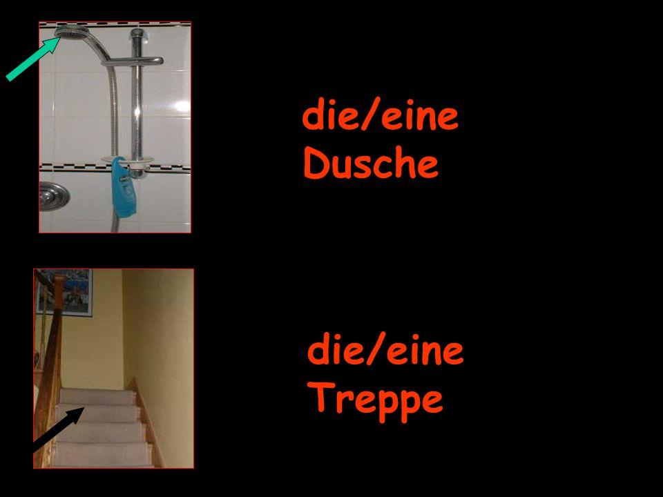 die/eine Dusche die/eine Treppe