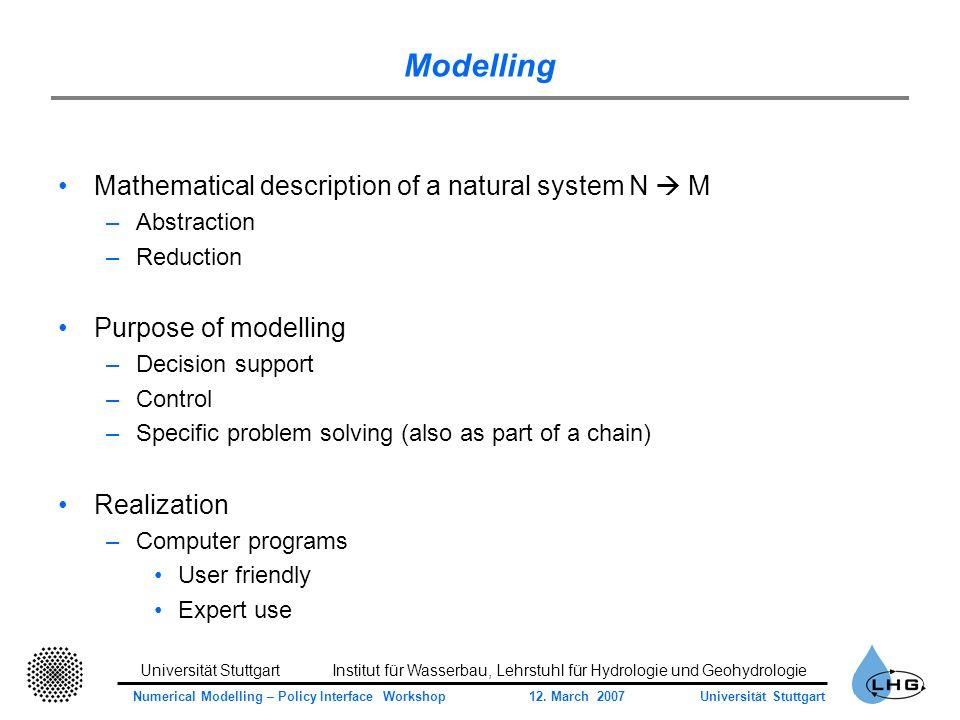 Universität StuttgartInstitut für Wasserbau, Lehrstuhl für Hydrologie und Geohydrologie Numerical Modelling – Policy Interface Workshop 12.
