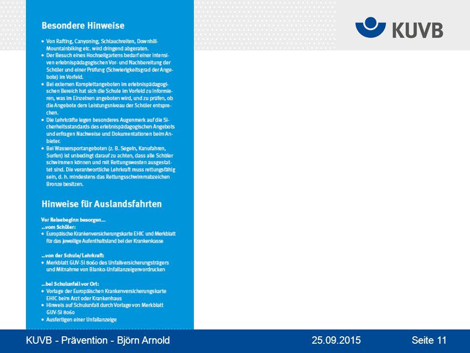 KUVB - Prävention - Björn Arnold Seite 1125.09.2015