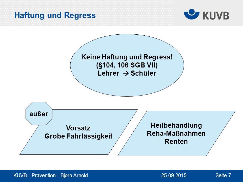 KUVB - Prävention - Björn Arnold Seite 7 Haftung und Regress Keine Haftung und Regress.