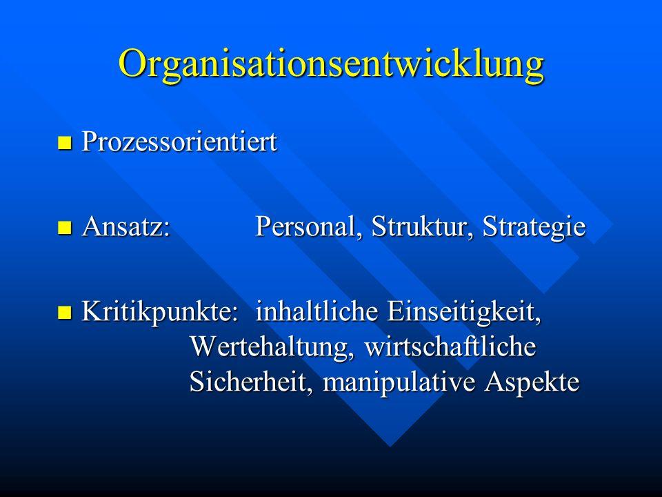 PERSONELLE ZIELE Zufriedenheit der Organisationsmitglieder Zufriedenheit der Organisationsmitglieder Humanisierung der Arbeitswelt Humanisierung der Arbeitswelt Autonomie der Organisationsmitglieder Autonomie der Organisationsmitglieder Selbstverwirklichung der Mitarbeiter Selbstverwirklichung der Mitarbeiter