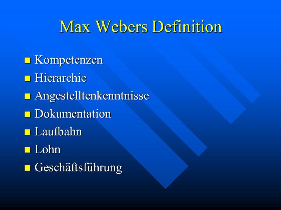 Max Webers Definition Kompetenzen Kompetenzen Hierarchie Hierarchie Angestelltenkenntnisse Angestelltenkenntnisse Dokumentation Dokumentation Laufbahn Laufbahn Lohn Lohn Geschäftsführung Geschäftsführung