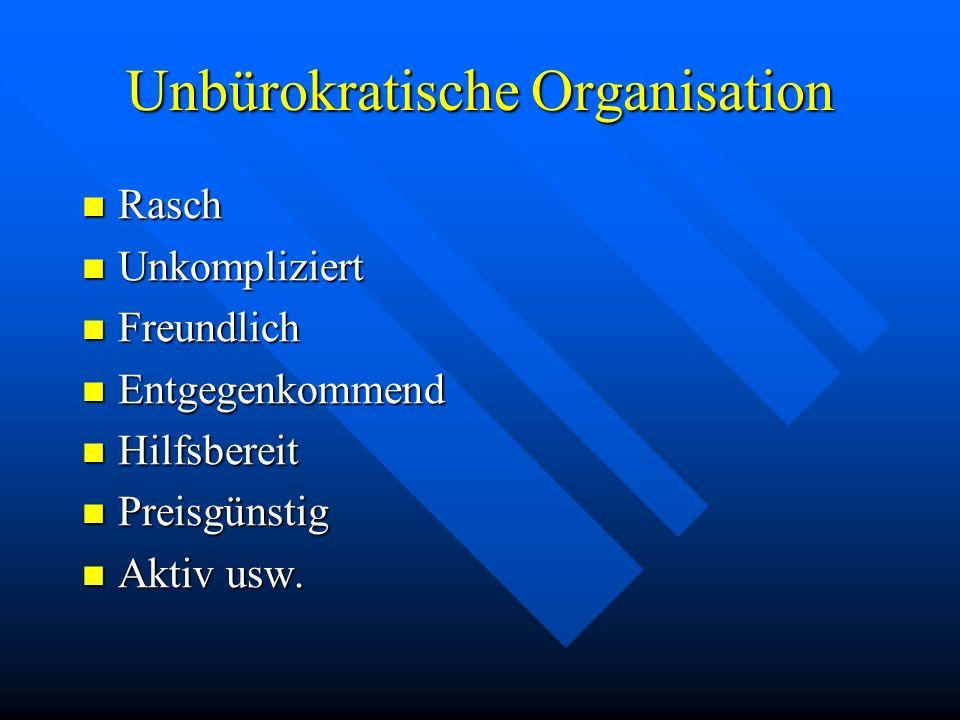 Unbürokratische Organisation Rasch Rasch Unkompliziert Unkompliziert Freundlich Freundlich Entgegenkommend Entgegenkommend Hilfsbereit Hilfsbereit Preisgünstig Preisgünstig Aktiv Aktiv usw.