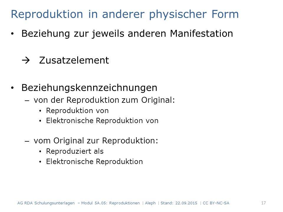Reproduktion in anderer physischer Form Beziehung zur jeweils anderen Manifestation  Zusatzelement Beziehungskennzeichnungen – von der Reproduktion z