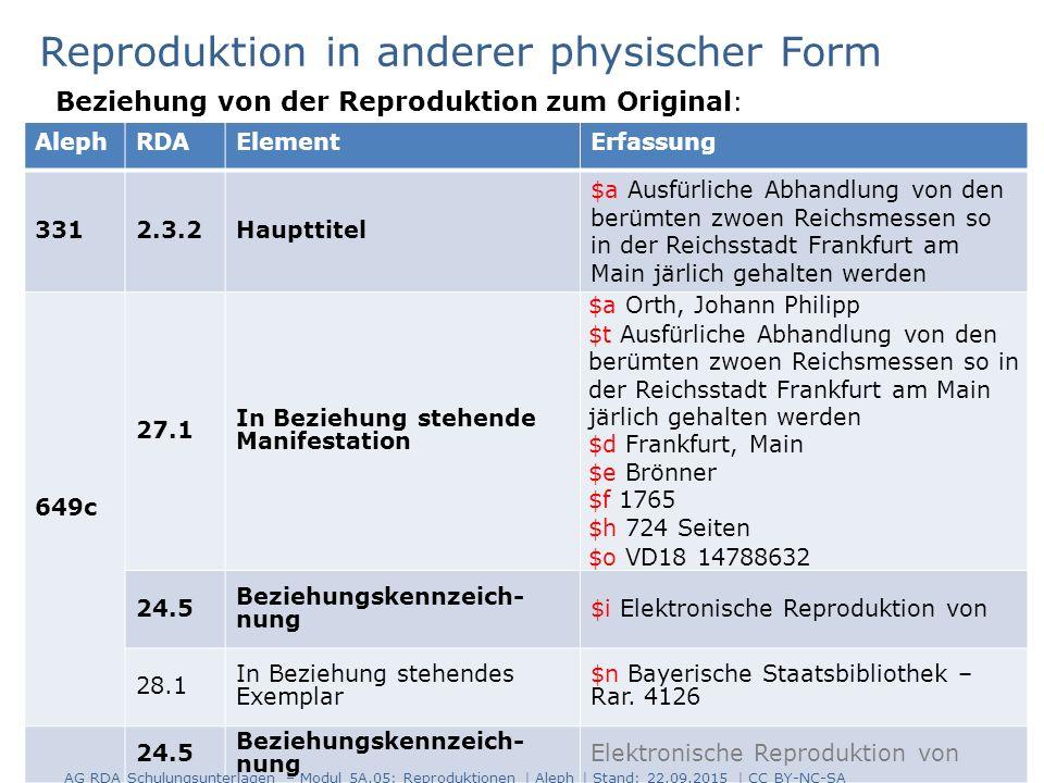 18 AlephRDAElementErfassung 3312.3.2Haupttitel $a Ausfürliche Abhandlung von den berümten zwoen Reichsmessen so in der Reichsstadt Frankfurt am Main j
