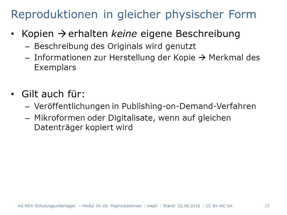 Reproduktionen in gleicher physischer Form Kopien  erhalten keine eigene Beschreibung – Beschreibung des Originals wird genutzt – Informationen zur H
