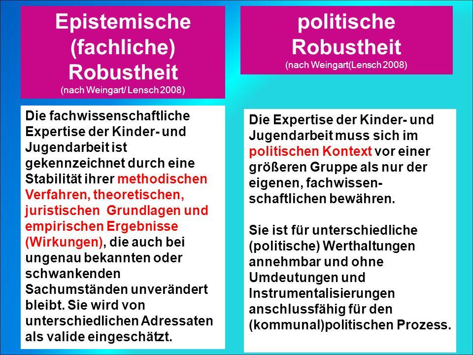 Epistemische (fachliche) Robustheit (nach Weingart/ Lensch 2008) politische Robustheit (nach Weingart(Lensch 2008) Die Expertise der Kinder- und Jugendarbeit muss sich im politischen Kontext vor einer größeren Gruppe als nur der eigenen, fachwissen- schaftlichen bewähren.