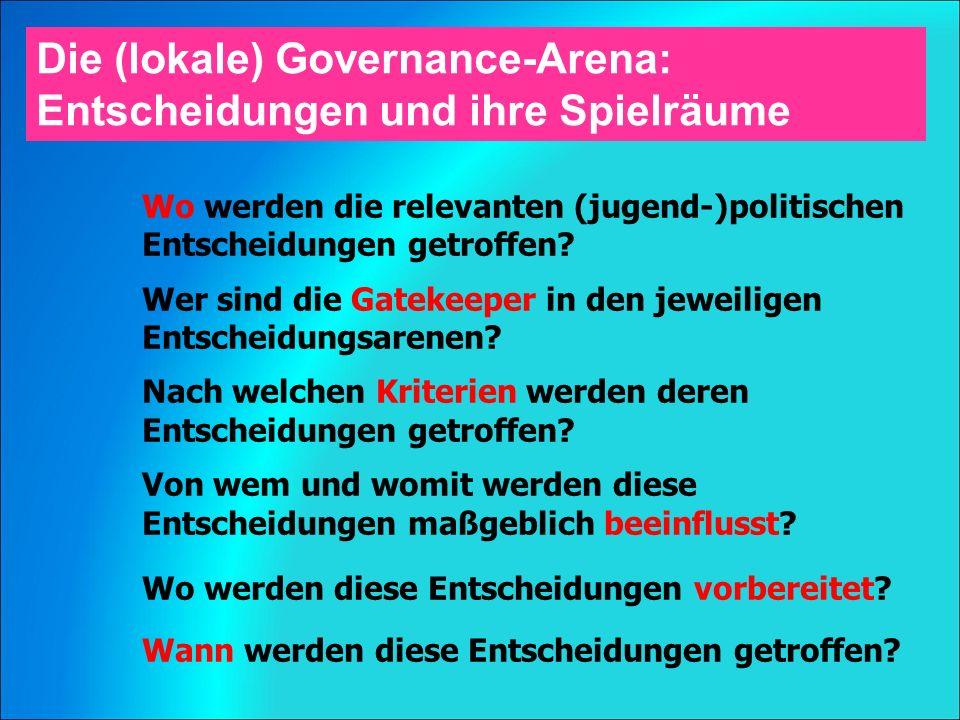 Die (lokale) Governance-Arena: Entscheidungen und ihre Spielräume Wo werden die relevanten (jugend-)politischen Entscheidungen getroffen.