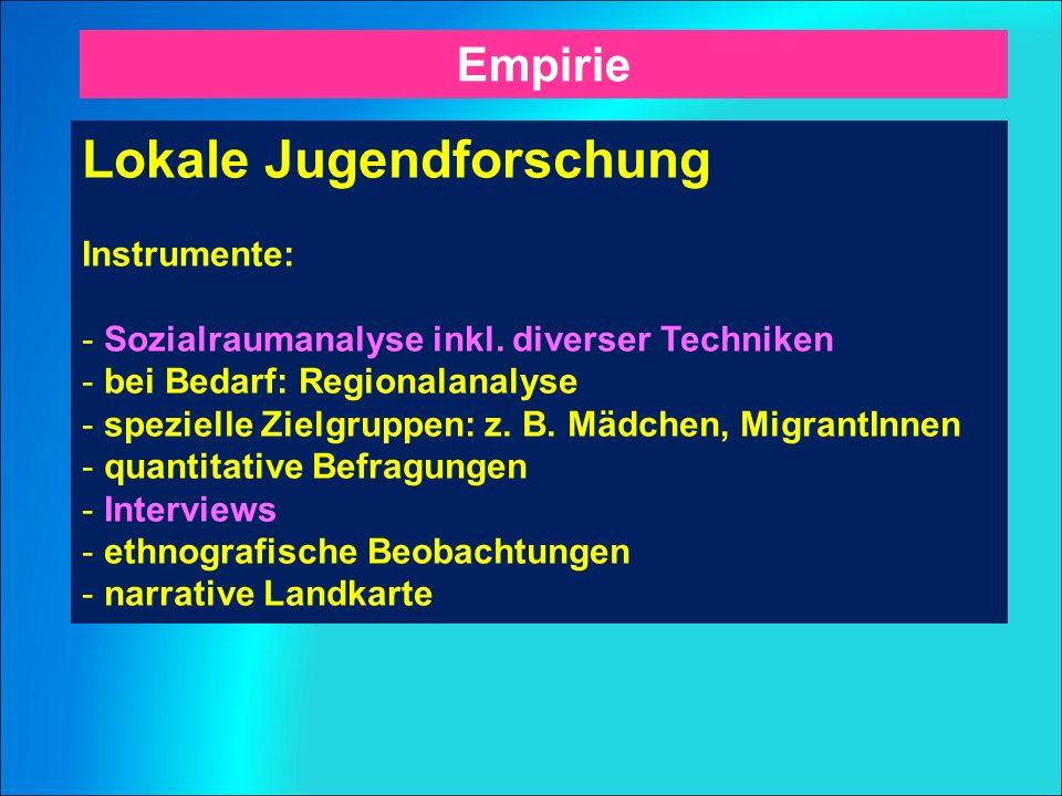 Lokale Jugendforschung Instrumente: - Sozialraumanalyse inkl.