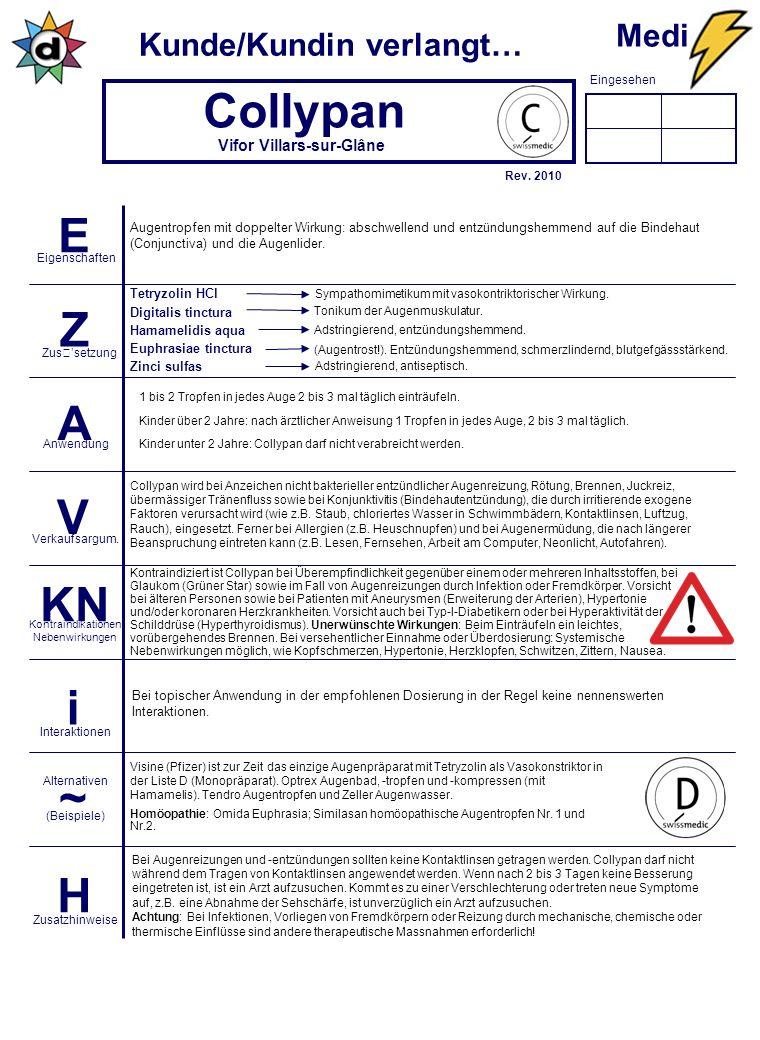Eingesehen Kunde/Kundin verlangt… E Z A V KN i ~ H Eigenschaften Zus'setzung Anwendung Verkaufsargum.