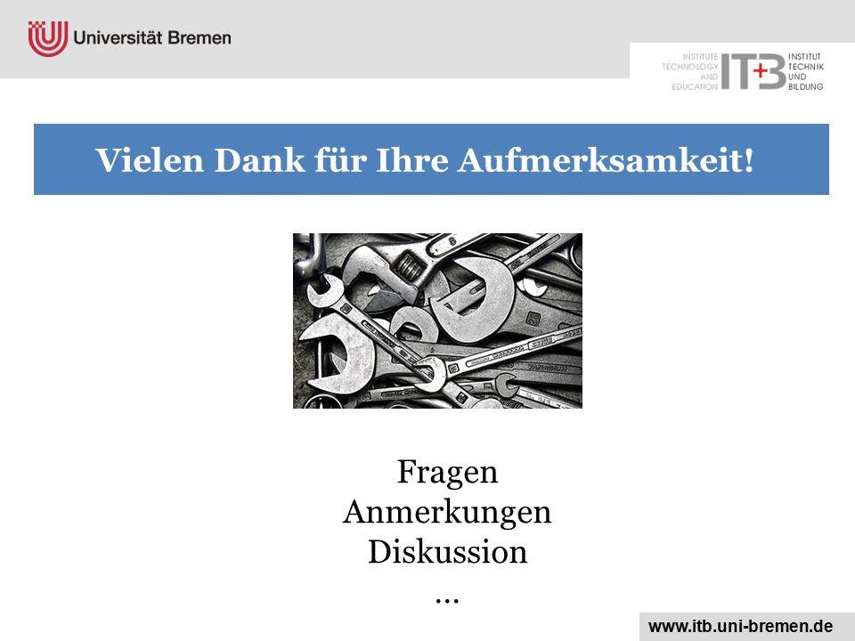Fragen Anmerkungen Diskussion … www.itb.uni-bremen.de Vielen Dank für Ihre Aufmerksamkeit!