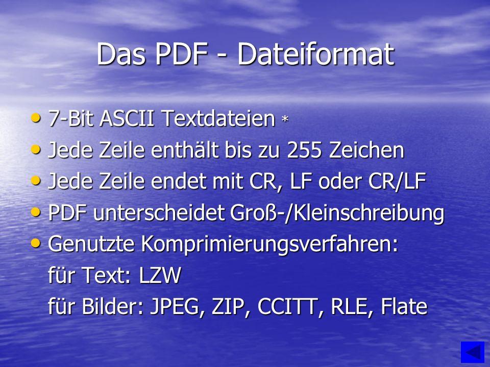 Das PDF - Dateiformat 7-Bit ASCII Textdateien * 7-Bit ASCII Textdateien * Jede Zeile enthält bis zu 255 Zeichen Jede Zeile enthält bis zu 255 Zeichen Jede Zeile endet mit CR, LF oder CR/LF Jede Zeile endet mit CR, LF oder CR/LF PDF unterscheidet Groß-/Kleinschreibung PDF unterscheidet Groß-/Kleinschreibung Genutzte Komprimierungsverfahren: Genutzte Komprimierungsverfahren: für Text: LZW für Bilder: JPEG, ZIP, CCITT, RLE, Flate
