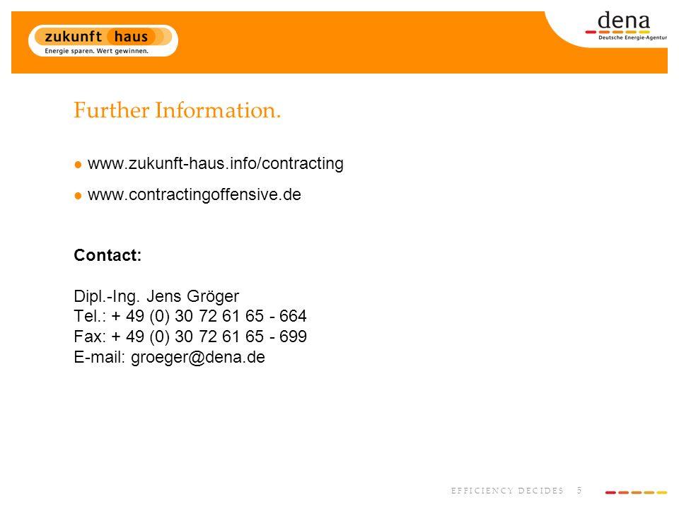 5 E F F I C I E N C Y D E C I D E S Further Information. www.zukunft-haus.info/contracting www.contractingoffensive.de Contact: Dipl.-Ing. Jens Gröger