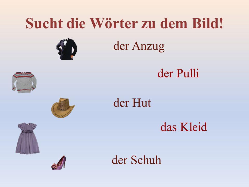 Sucht die Wörter zu dem Bild! der Anzug der Pulli der Hut das Kleid der Schuh