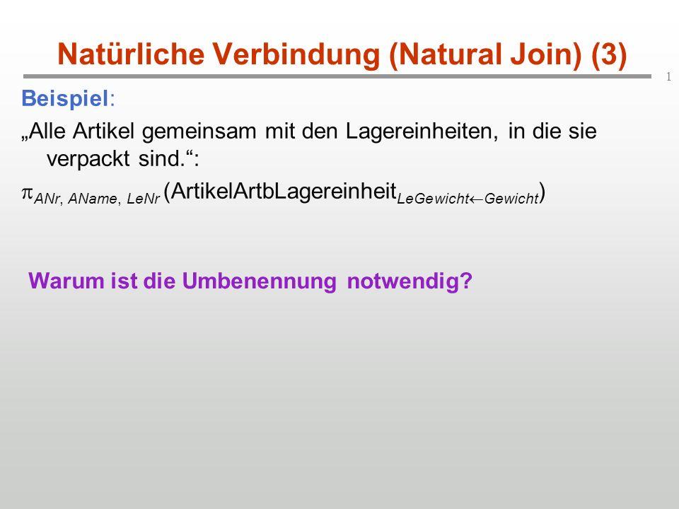 """1 Natürliche Verbindung (Natural Join) (3) Beispiel: """"Alle Artikel gemeinsam mit den Lagereinheiten, in die sie verpackt sind. :  ANr, AName, LeNr (ArtikelArtbLagereinheit LeGewicht  Gewicht ) Warum ist die Umbenennung notwendig?"""