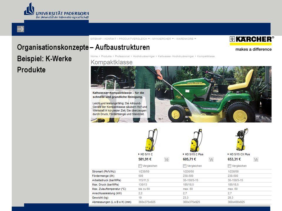 Organisationskonzepte – Aufbaustrukturen Beispiel: K-Werke Produkte