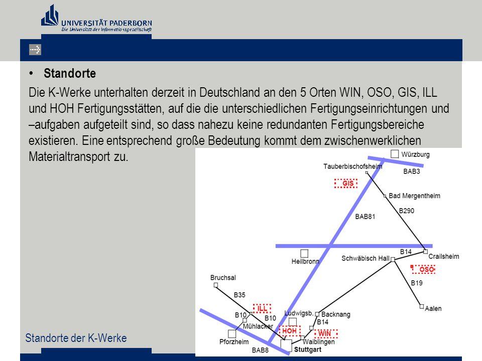 Standorte Die K-Werke unterhalten derzeit in Deutschland an den 5 Orten WIN, OSO, GIS, ILL und HOH Fertigungsstätten, auf die die unterschiedlichen Fertigungseinrichtungen und –aufgaben aufgeteilt sind, so dass nahezu keine redundanten Fertigungsbereiche existieren.