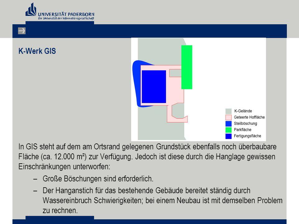 K-Werk GIS In GIS steht auf dem am Ortsrand gelegenen Grundstück ebenfalls noch überbaubare Fläche (ca. 12.000 m²) zur Verfügung. Jedoch ist diese dur