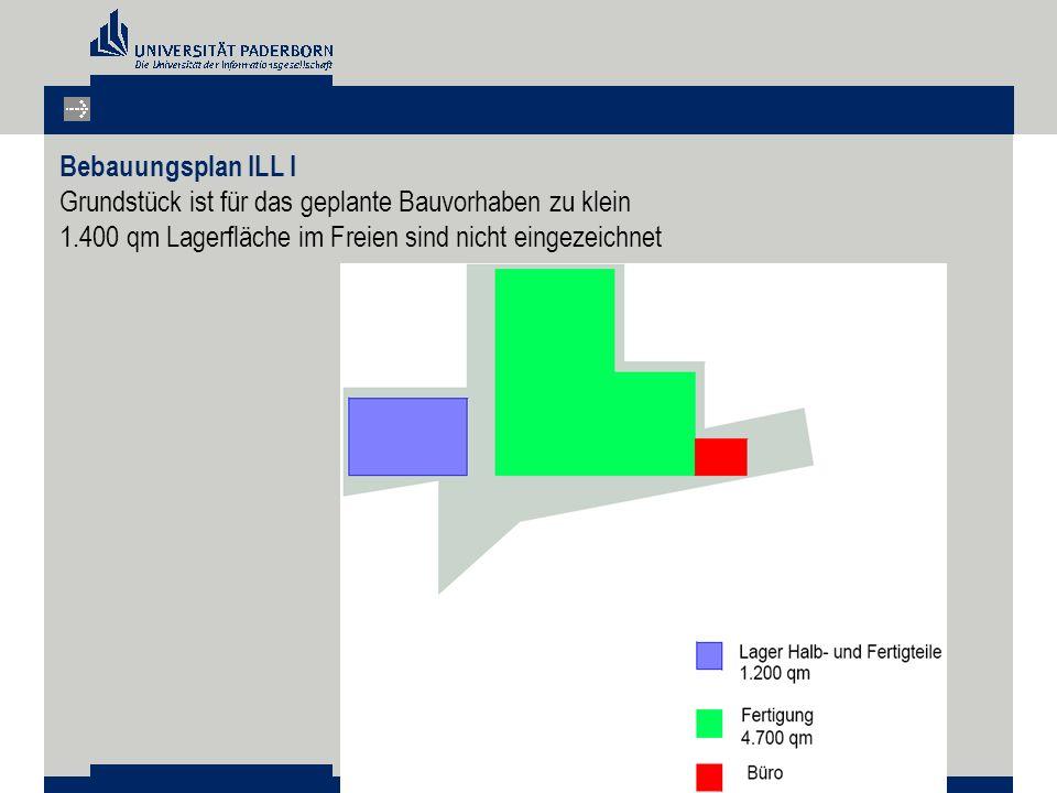 Bebauungsplan ILL I Grundstück ist für das geplante Bauvorhaben zu klein 1.400 qm Lagerfläche im Freien sind nicht eingezeichnet