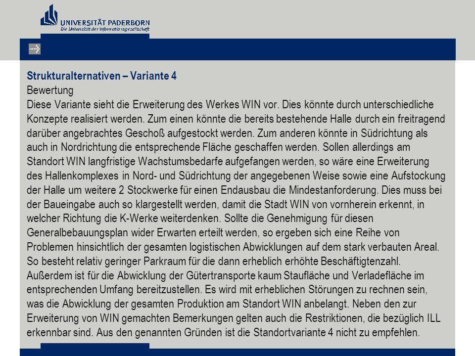 Strukturalternativen – Variante 4 Bewertung Diese Variante sieht die Erweiterung des Werkes WIN vor.
