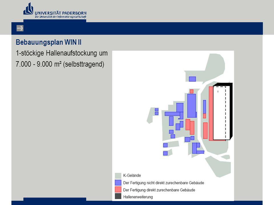 Bebauungsplan WIN II 1-stöckige Hallenaufstockung um 7.000 - 9.000 m² (selbsttragend)