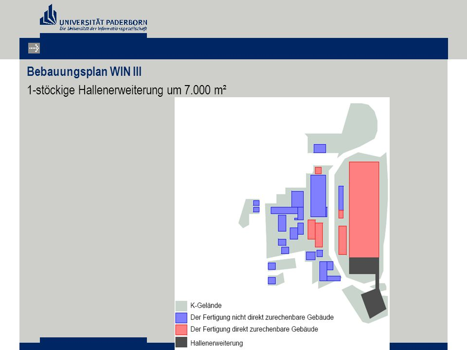 Bebauungsplan WIN III 1-stöckige Hallenerweiterung um 7.000 m²
