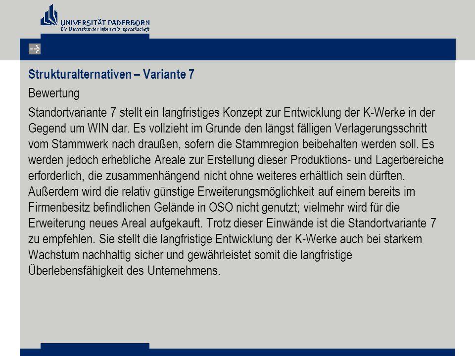 Strukturalternativen – Variante 7 Bewertung Standortvariante 7 stellt ein langfristiges Konzept zur Entwicklung der K-Werke in der Gegend um WIN dar.