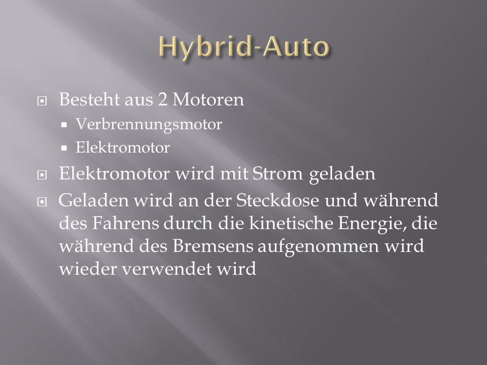  Besteht aus 2 Motoren  Verbrennungsmotor  Elektromotor  Elektromotor wird mit Strom geladen  Geladen wird an der Steckdose und während des Fahrens durch die kinetische Energie, die während des Bremsens aufgenommen wird wieder verwendet wird