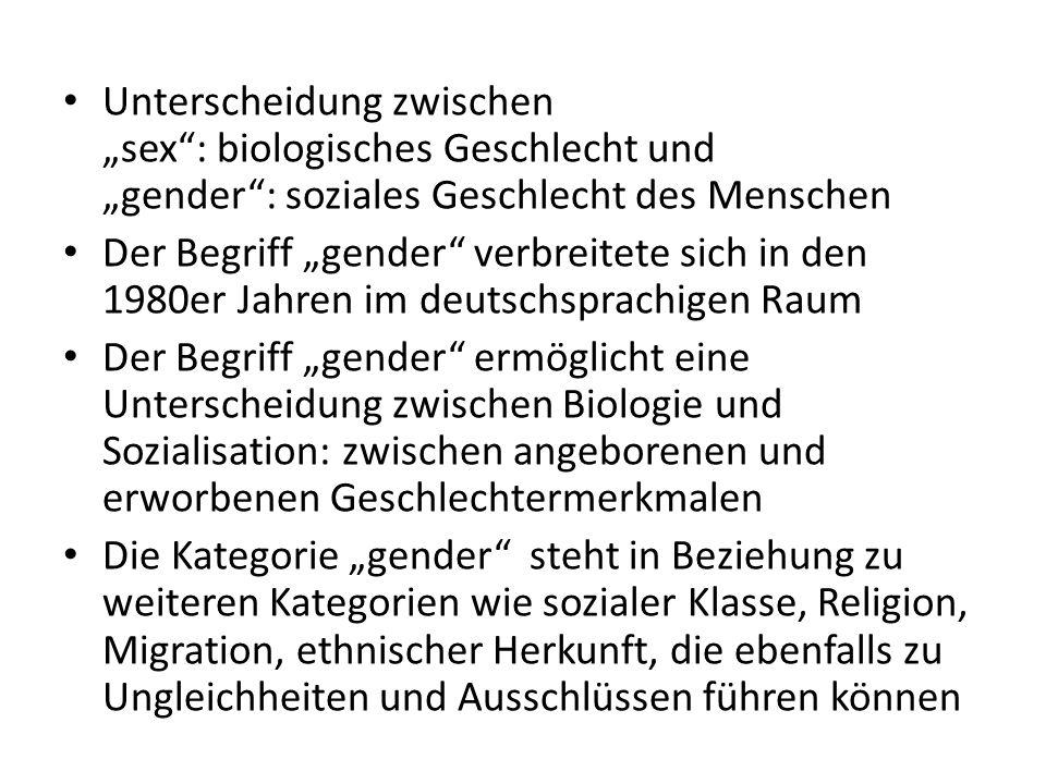 """Unterscheidung zwischen """"sex"""": biologisches Geschlecht und """"gender"""": soziales Geschlecht des Menschen Der Begriff """"gender"""" verbreitete sich in den 198"""
