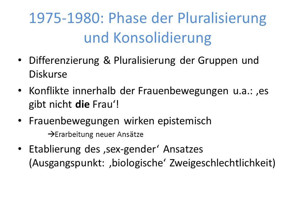 1975-1980: Phase der Pluralisierung und Konsolidierung Differenzierung & Pluralisierung der Gruppen und Diskurse Konflikte innerhalb der Frauenbewegungen u.a.: 'es gibt nicht die Frau'.