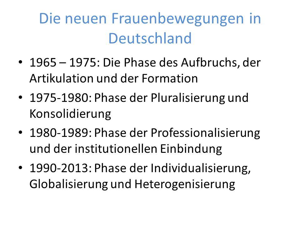 Die neuen Frauenbewegungen in Deutschland 1965 – 1975: Die Phase des Aufbruchs, der Artikulation und der Formation 1975-1980: Phase der Pluralisierung und Konsolidierung 1980-1989: Phase der Professionalisierung und der institutionellen Einbindung 1990-2013: Phase der Individualisierung, Globalisierung und Heterogenisierung