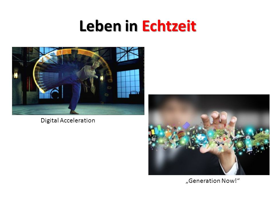 "Leben in Echtzeit Digital Acceleration ""Generation Now!"""