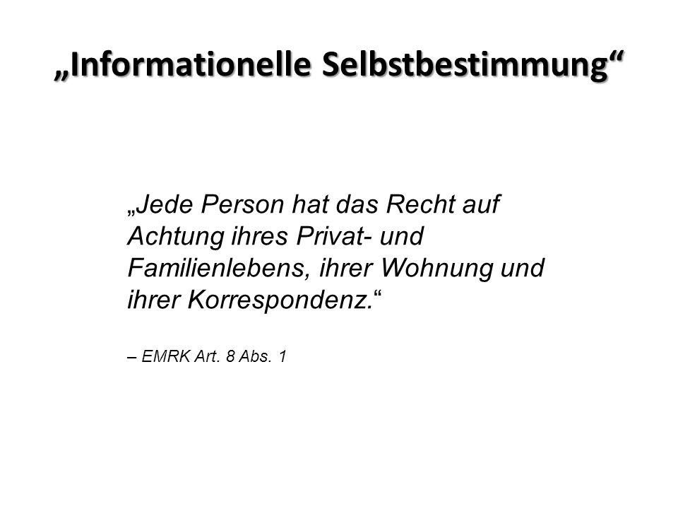 """""""Informationelle Selbstbestimmung"""" """"Jede Person hat das Recht auf Achtung ihres Privat- und Familienlebens, ihrer Wohnung und ihrer Korrespondenz."""" –"""