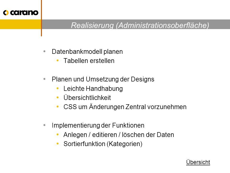 Realisierung (Administrationsoberfläche) Datenbankmodell planen Tabellen erstellen Planen und Umsetzung der Designs Leichte Handhabung Übersichtlichkeit CSS um Änderungen Zentral vorzunehmen Implementierung der Funktionen Anlegen / editieren / löschen der Daten Sortierfunktion (Kategorien) Übersicht