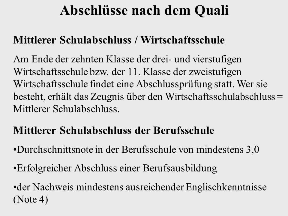 Mittlerer Schulabschluss / Wirtschaftsschule Am Ende der zehnten Klasse der drei- und vierstufigen Wirtschaftsschule bzw.