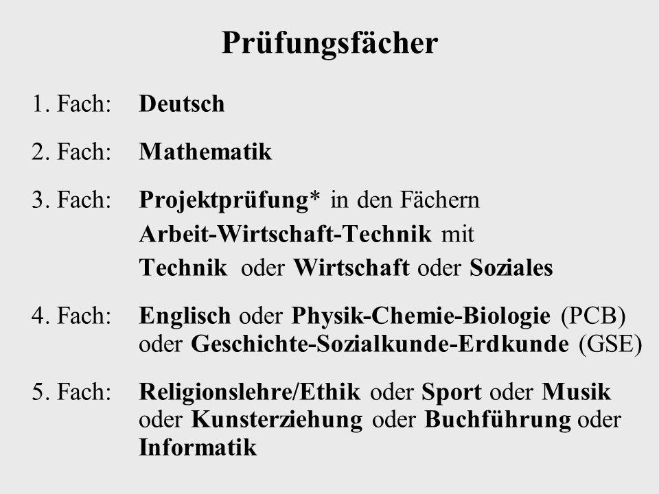 Prüfungsfächer 1. Fach:Deutsch 2. Fach:Mathematik 3. Fach: Projektprüfung* in den Fächern Arbeit-Wirtschaft-Technik mit Technik oder Wirtschaft oder S